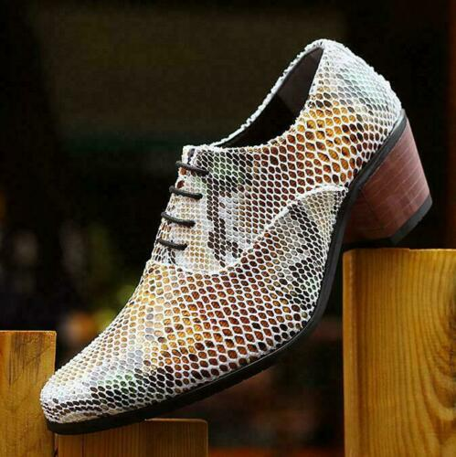 Details about  /Mens Snakeskin Cuban HIgh MId Heels Pointy Toe Leather Wedding Nightclub Shoes