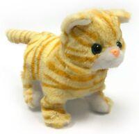 Orange Striped Cat Lifelike Stuffed Animal Meows Walks Electronic Toy