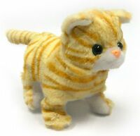 Orange Striped Cat Lifelike Stuffed Animal Meows Walks Electronic Toy