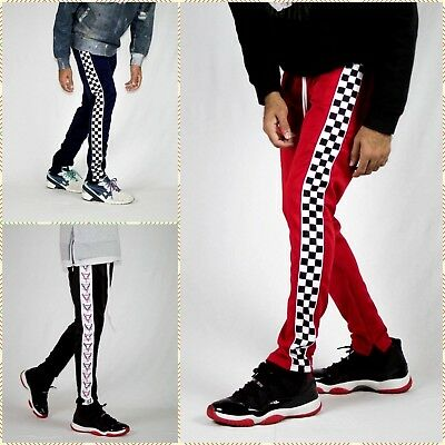 Men/'s Techno Checker and Bull Hip Hop Style Track Pants Long Drawstring S to 2XL