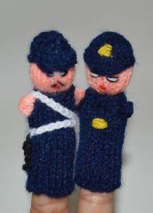 Police man Bobby british cop Handknittd fingerpuppet PERU Folk Adorable Handmade