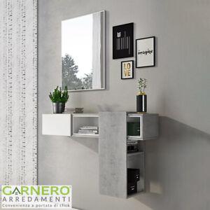 Dettagli su Mobile ingresso RICH bianco cemento sospeso scorrevole moderno  specchio design
