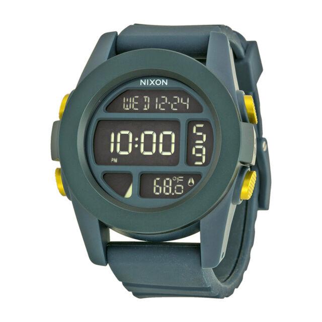 Nixon Unit Steel Blue Dial Silicone Strap Mens Chrono Watch A1971264