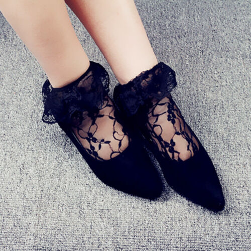 Delicate Women Lady Retro Lace Ankle Socks Girls Ruffle Frilly Short Socks