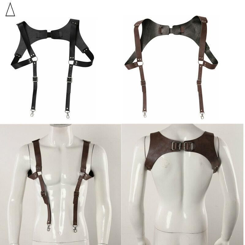 Mens Medieval Leather Suspender Brustgurt Verstellbarer Haken Schultergurt Haken