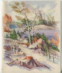 VINTAGE-CHRISTMAS-GLITTER-SNOW-NATURE-MOUNTAIN-LAKE-NATURE-GREETING-amp-SANTA-CARD