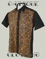 Men black leopard tattoo rockabilly 50s lounge diner shirt psychobilly retro