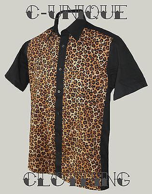 Angemessen Men Black Leopard Tattoo Rockabilly 50s Lounge Diner Shirt Psychobilly Retro