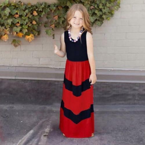 Mother Daughter Matching Clothes Striped Mom Kids Parent Long Dress Outfits