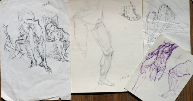 Harry Carmean 4 small drawings of figures 1960's