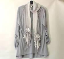 BANANA REPUBLIC Grey Dip Hem Quirky Tunic Top Adjustable Sleeves & Scarf Size L