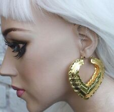 AZTEC DOOR KNOCKER HEART GOLD TONE CREOLE HOOP LARGE FASHION EARRINGS