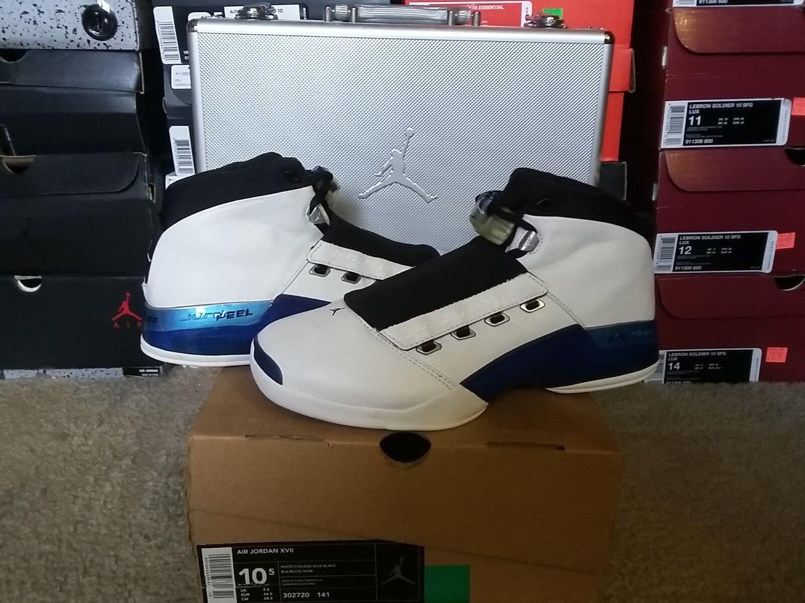 Nike Air Jordan XVII OG 2002 Retro Wizards White College bluee Black x 302720 141