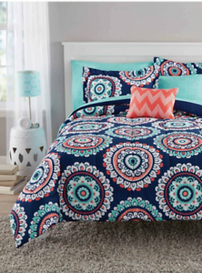 Image Is Loading New Medallion Queen Size Comforter Set Teen Bedding