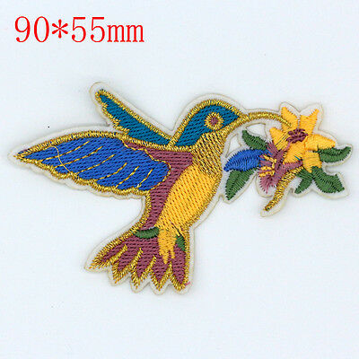 2× Embroidery Bird Sew Iron On Patch Badge Embroidered Fabric Applique