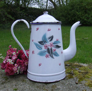vintage french enamelware coffee pot pink flowers large cafeti re emaill e ebay. Black Bedroom Furniture Sets. Home Design Ideas