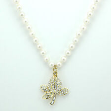 18k Gold GF pearls flower rose crystals pendant necklace with Swarovski elements