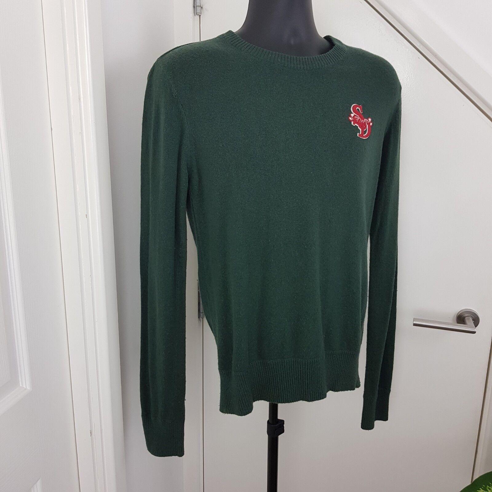 Superdry Jumper Uomo Angora Cotton Cotton Cotton Crew Neck Long Sleeves Cardigan verde Dimensione S 2165da