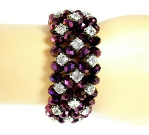 Women Bracelets Red Hat Purple Crystal Beaded Interchangeable Stretchy Watchband Vintage Style Gifts For Her. Handmade