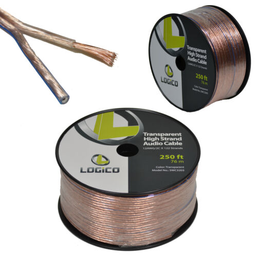 Car Home Audio Speaker Wire 12 Gauge Bulk Audio Speaker Cable Transparent 250 ft
