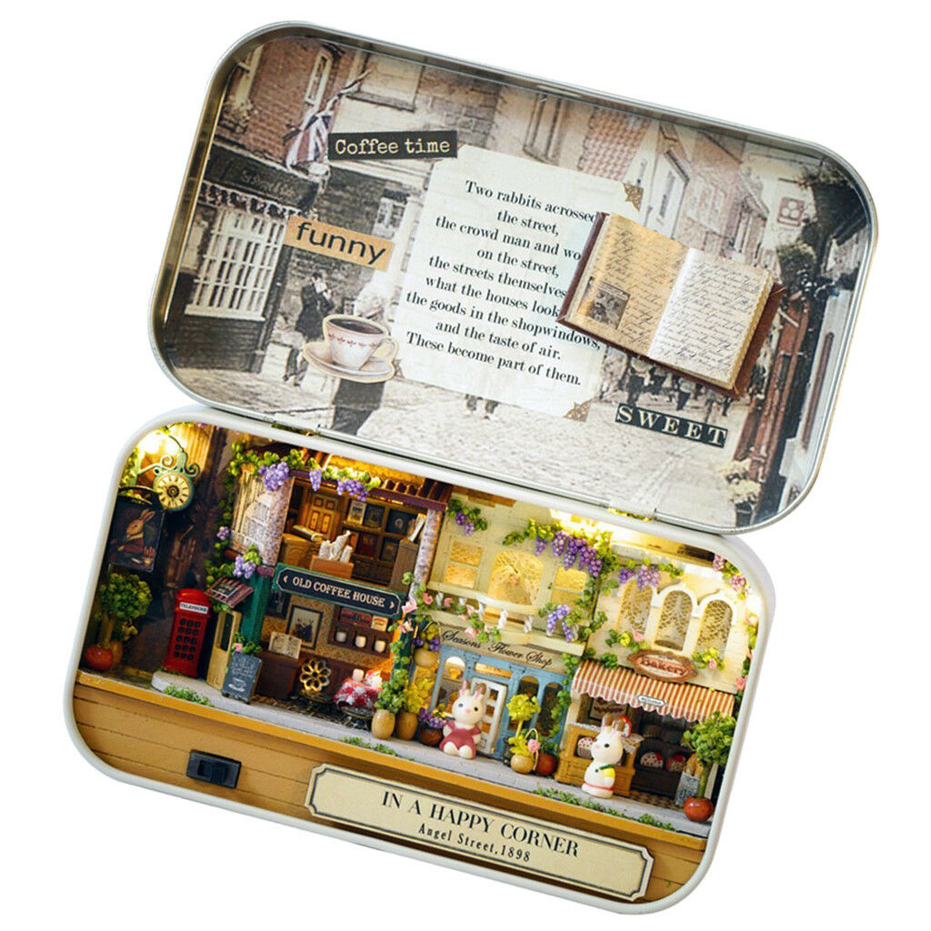 In A Happy Corner- DIY Hecraft Tin scatola bambolahouse Miniature Theatre Series