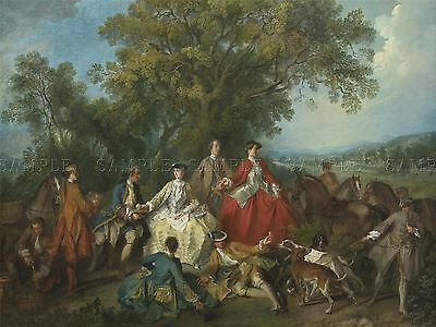 LANCRET FRENCH PICNIC HUNT OLD ART PAINTING POSTER PRINT BB6014A