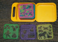Vintage 17 Tupperware Stencill Set Animals, Trees, Holidays With Yellow Case