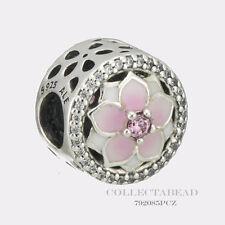 Authentic Pandora Silver Magnolia Bloom Enamel CZ Bead 792085PCZ *SPRING 2017