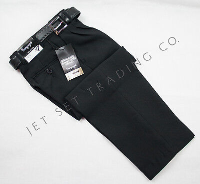 BOYS BLACK DRESS PANTS PLEATED TROUSERS WITH BLACK BELT Sizes 4-20