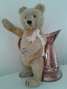 Antique-steiff-traditional-jointed-golden-beige-mohair-collectors-teddy-bear