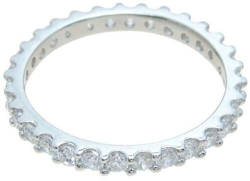 Women/'s 1 Ct Cubic Zirconia Wedding Eternity Band Ring 925 Sterling Silver