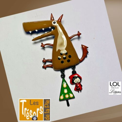av 11,95€ Broche LOL Bijoux Lolilota Loup marron petit chaperon rouge
