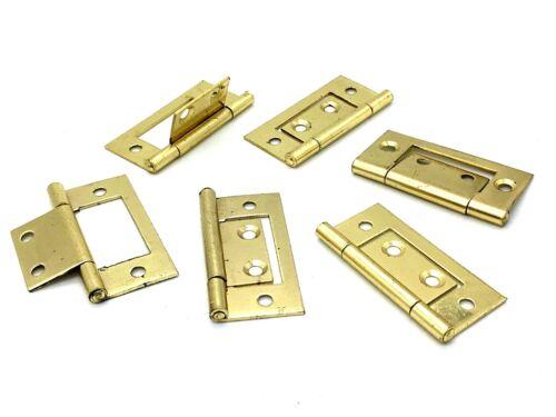 FLUSH HINGES 50mm polished brass effect surface mount cupboard door hinge 722