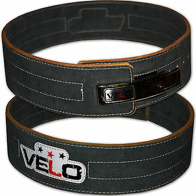 VELO Leather Weight Lifting Power Belt Lever Pro Gym Training Powerlifting Strap