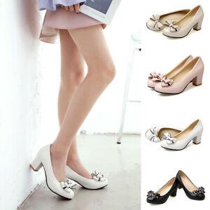New Women/'s Round Toe Back Bowknot Dress Shoes OL Pumps Mid High Block Heels