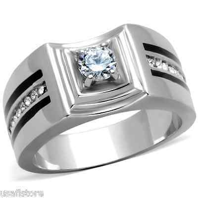 Mens Oval Shape 2.71ct Clear CZ Stones Silver Stainless Steel Ring