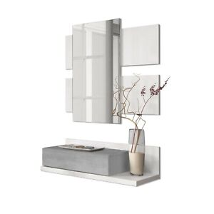 Recibidor-con-cajon-espejo-mueble-colgante-Blanco-y-Gris-Cemento-Tekkan