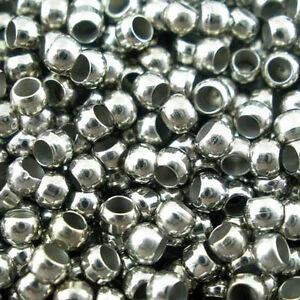 Lot-100-200-500-Perle-a-Ecraser-2mm-Argente-Mat-Appret-Creation-bijoux-Collier