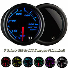 """2"""" 52mm Water Temp Gauge Meter 100°- 300° F Water Coolant 7 Colors LED Universal"""