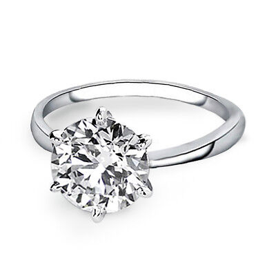 Samie Collection White Gold Plated 3.87 carat Round CZ Solitaire Engagement Ring