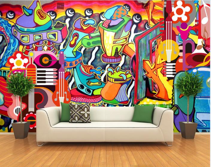 3D Farbe Graffiti Music 837 Wallpaper Mural Paper Wall Print Wallpaper Murals UK