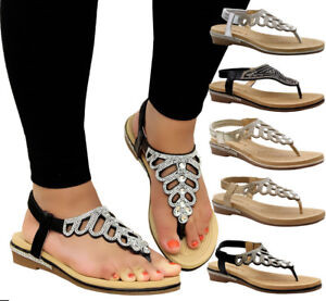 Ladies-Womens-Summer-Beach-Party-Toe-Post-Low-Wedge-Diamante-Sandals-Shoes-Size