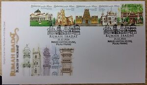 Malaysia-FDC-with-stamps-21-11-2016-Places-of-Worship