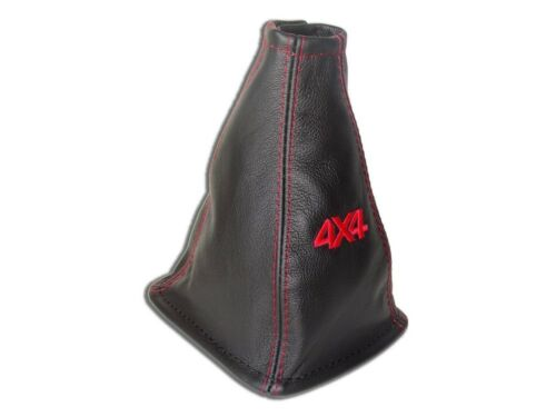 """Gear Stick Gaiter For Nissan X-Trail 2004-07 6 Speed Leather /""""4x4/"""" Red"""