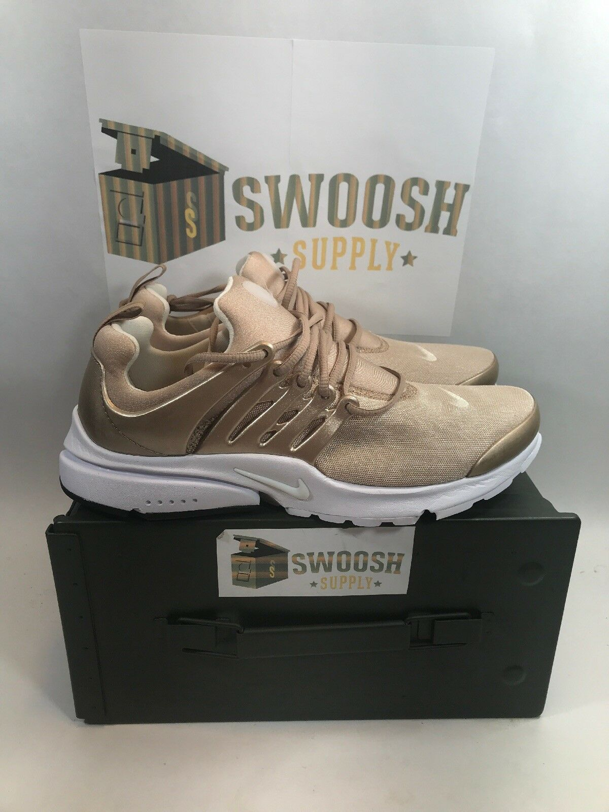 NIKE AIR PRESTO PREMIUM blueR METALLIC gold SIZE 8 New 848141 900