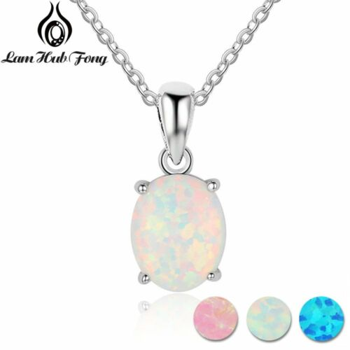 Luxury Opal Pendant Necklaces Oval White Pink Blue Silver Xmas Gifts For Her Mum