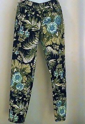 Bongo Jr. & Womens Black Jean With Bright Blue & Green Flowers