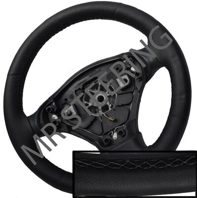 FOR TOYOTA AYGO 05-10 BLACK ITALIAN LEATHER STEERING WHEEL COVER GREY STITCH