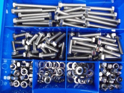 300 Teile Edelstahl Schrauben Sortiment DIN 933 Muttern Box M6 Sortimentskiste