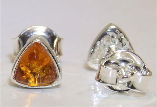 925 Sterling Silver Cabochon Trillion Cut Cognac Amber Stud Earrings